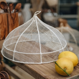 Round White Abaca Net Food Cover