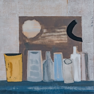 Marie Boyle: Still Life with Moon,semi-abstract still life,contemporary still life,modern oil painting,modern painting,local artist,burford art gallery,oil painting,original artwork,original art,artists in the cotswolds,oxfordshire art galleries