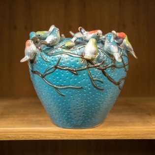 Turquoise Ceramic Bird Pot