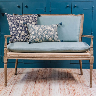 Stockholm Loveseat Pale Blue Linen (cushions not included)