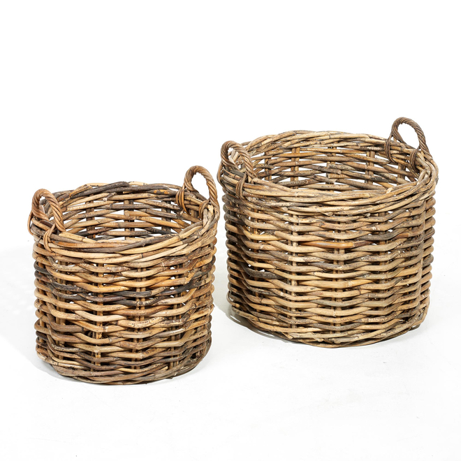 AF105 Chunky Weave Round Grey Kubu Rattan Baskets with Handles