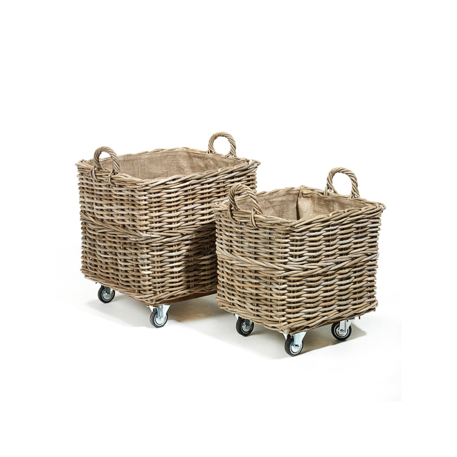 AF256 Grey Kubu Rattan Laundry Hamper on Wheels