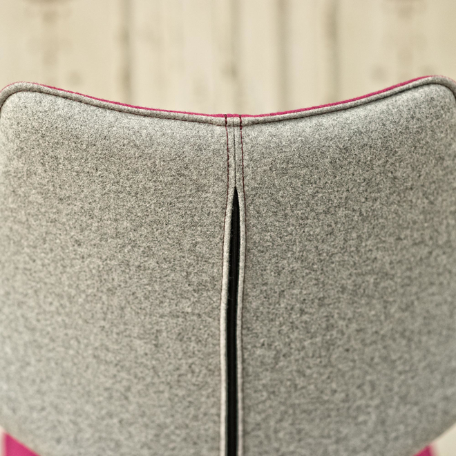 Clipper Felt Covered Dining Chair – Fuchsia seat back reverse