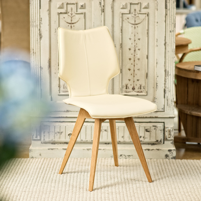 Clipper Leather Covered Dining Chair - Ivory