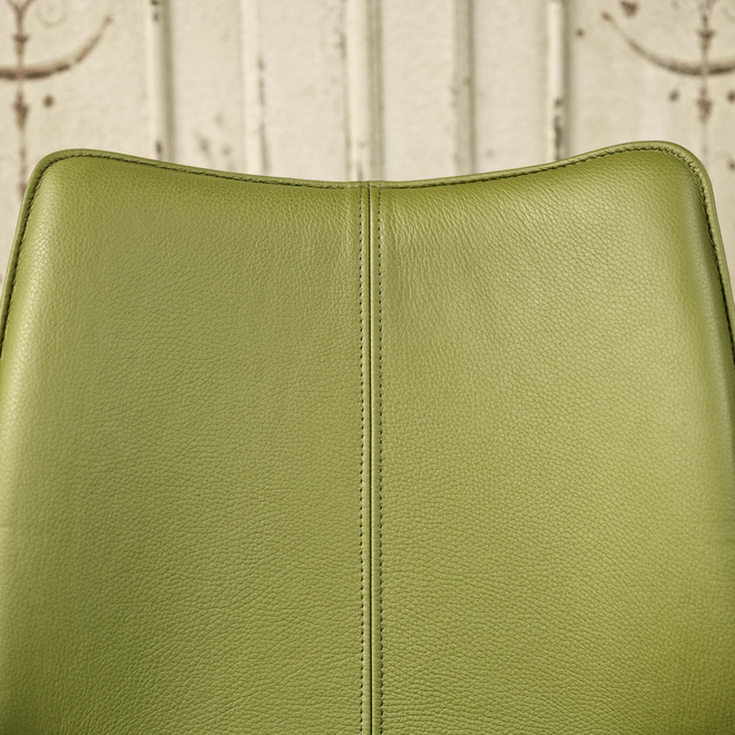 Clipper Leather Covered Dining Chair - Olive Green seat back