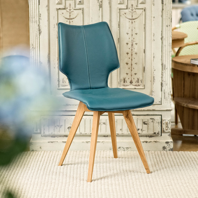 Clipper Leather Covered Dining Chair - Petrol