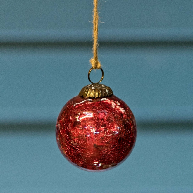 Glass Crackle Bauble Red  -  Small