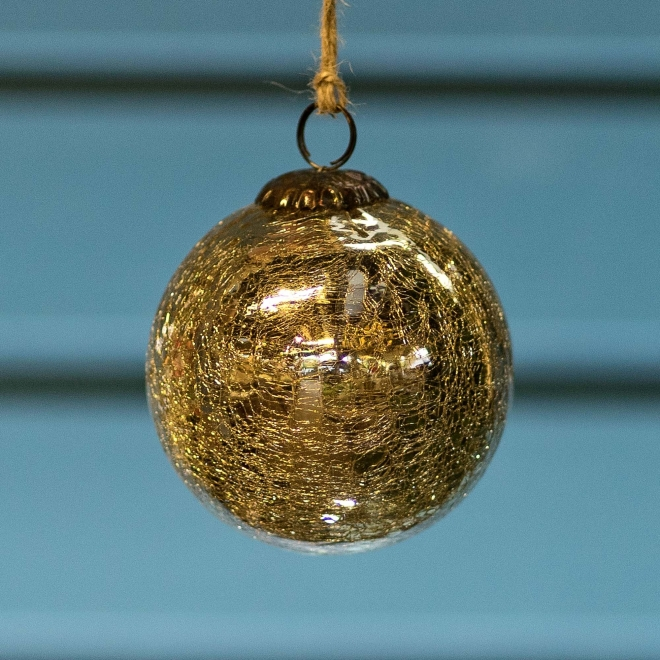 Glass Crackle Bauble Gold  - Large