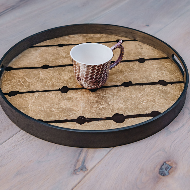 Brown Dots Round Tray
