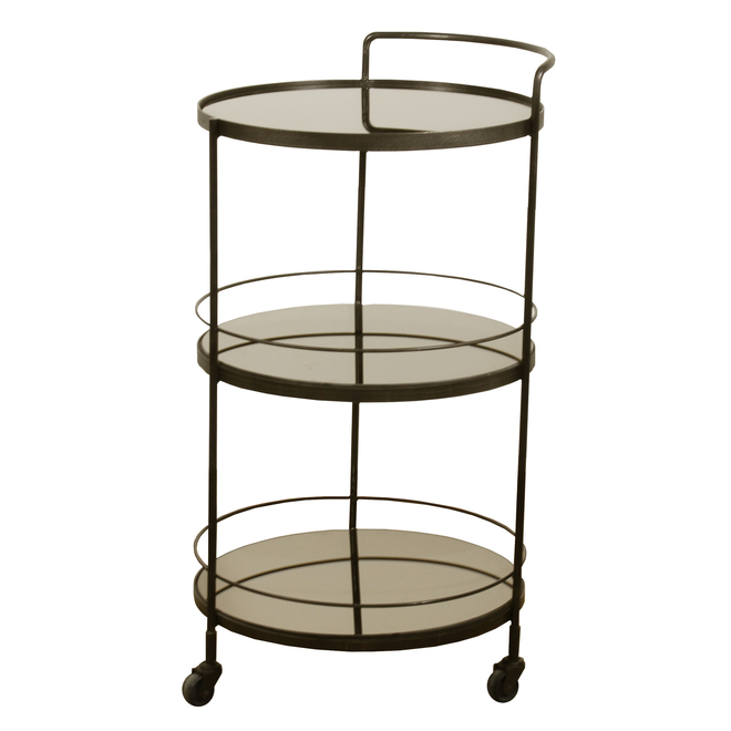 Bar Cart Lucy with Bronzed Shelves