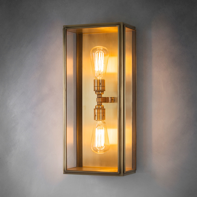 Birch Wall Light Brass Large Twin