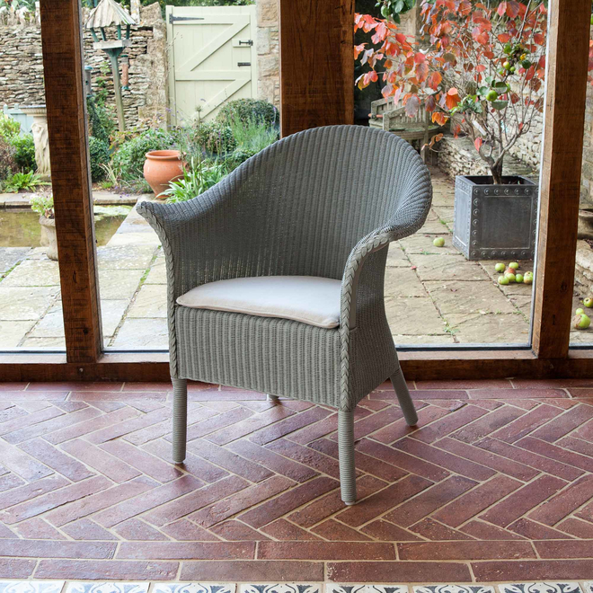 Classic Lloyd Loom Armchair Seat Cushion in Stone