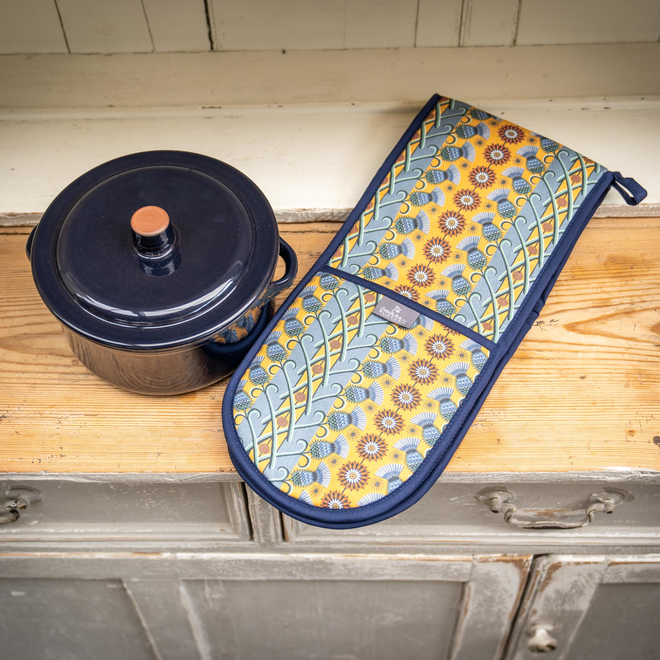Cressida Bell for Burford Double Oven Gloves Blue Thistle