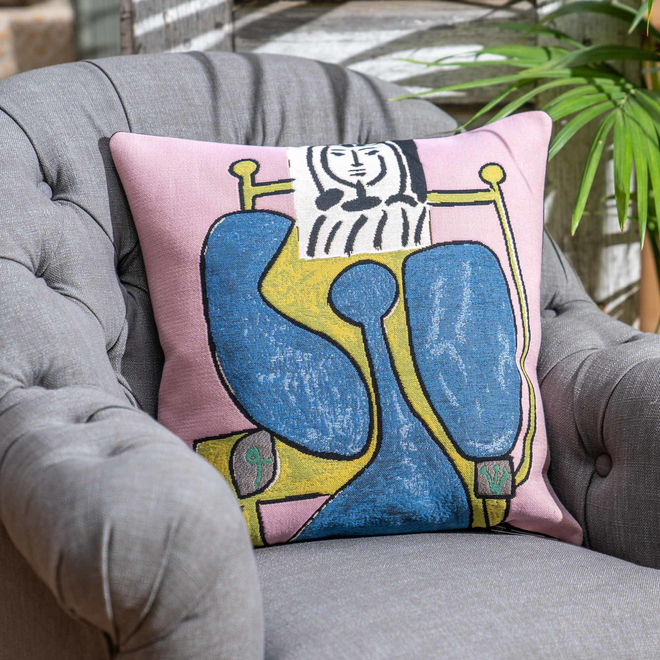 Femme Assise A La Robe Picasso Tapestry Cushion