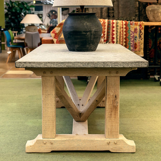 Elias Antique Bluestone and Weathered Oak Dining Table