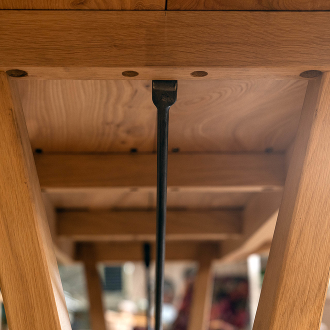 Handcrafted Elm Planked Trestle Table