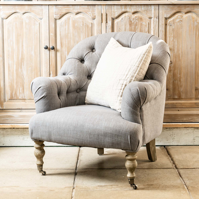 St James Button Back Occasional Armchair Grey