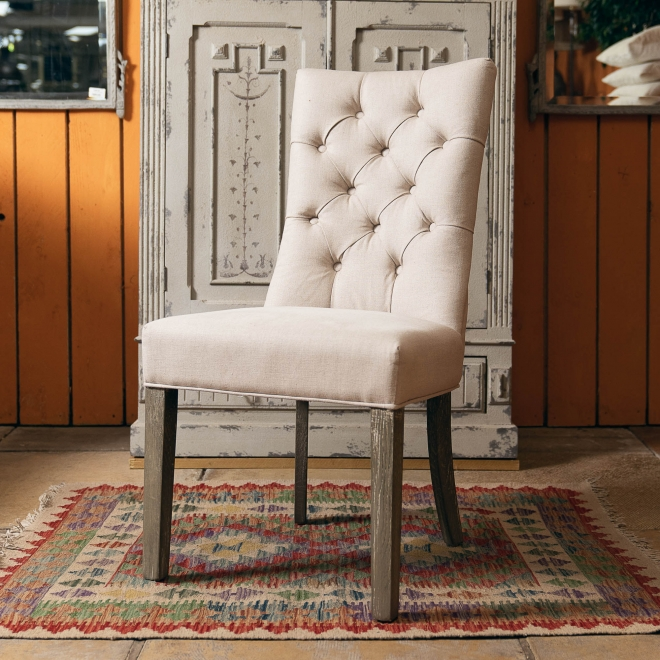 St James Buttoned Barrel Back Dining Chair Cream