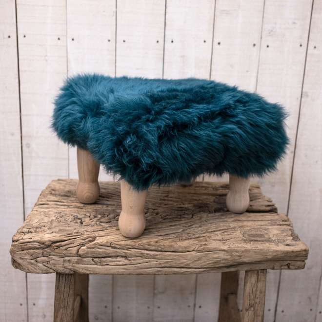 Angharad Sheepskin Footstool Teal