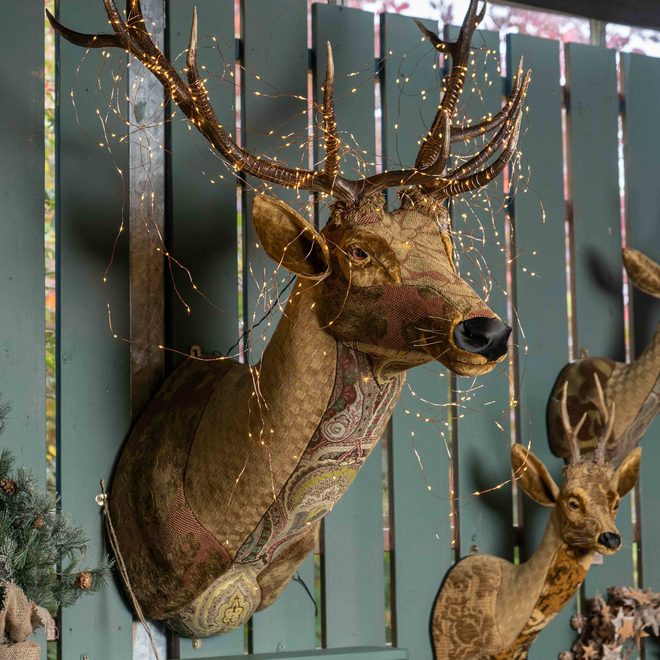 Handmade Fabric Red Stag Head