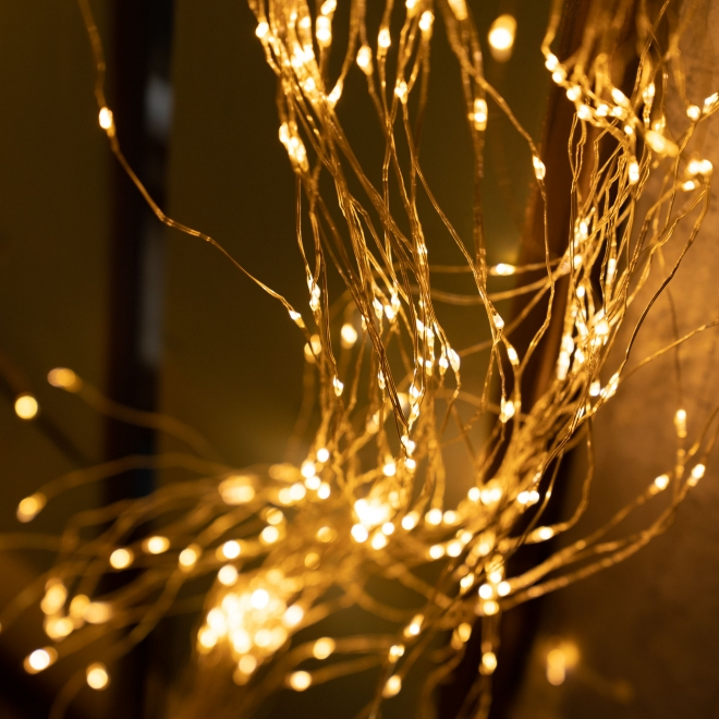 Rain Silver Wire Multiple String LED Lights Amber 702 Indoor