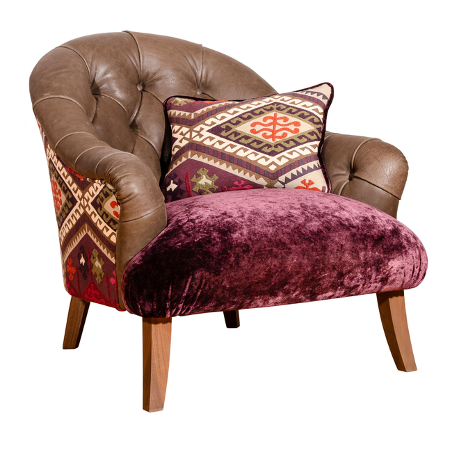 Hornby Armchair in Chocolate Hunter leather with Rossini Plum Velvet and Buckland Plum Kilim fabric