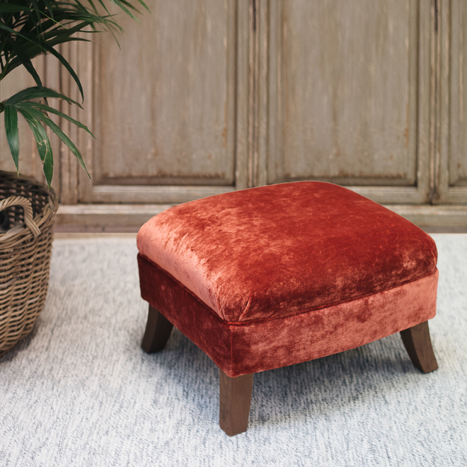 Stirling Footstool in Paprika Rossini velvet fabric