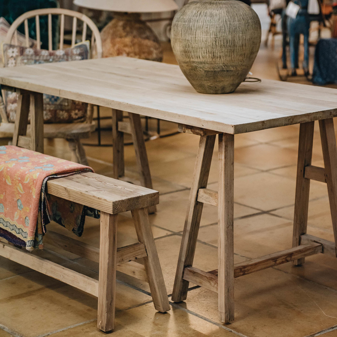 VIntage Trestle Table with VIntage Dining Bench and VIntage Windsor Chair