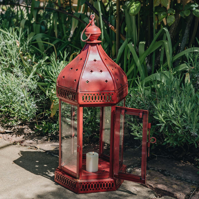 Arabian Lantern – Red. Candle not included