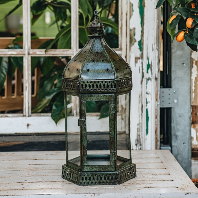 Arabian Lantern – Green. Candle not included