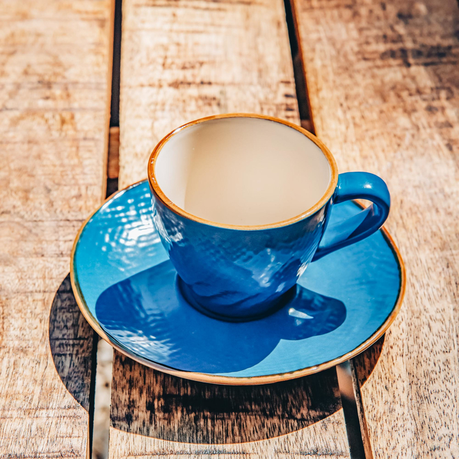 Mediterranean Coffee Cup and Saucer - Blue