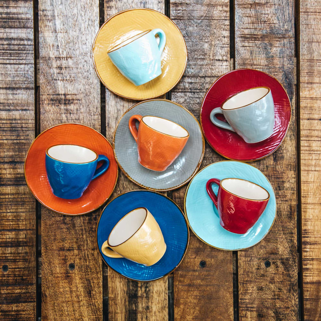Mediterranean Espresso Cups and Saucers