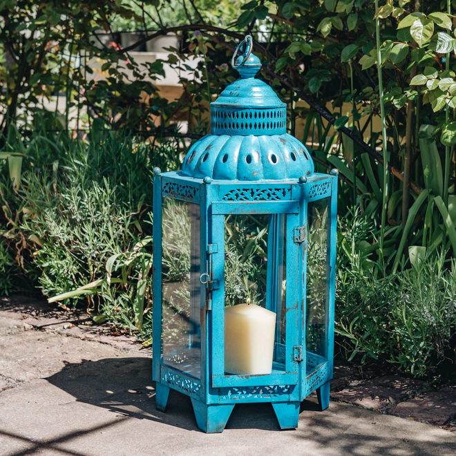 Moorish Lantern Blue - Candle not included