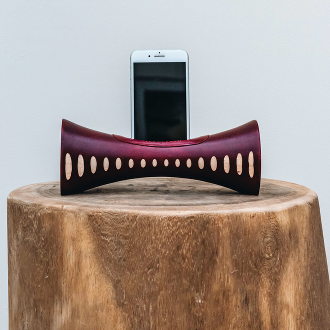 Portable Natural Speaker Mango Wood Dark Red Note Small