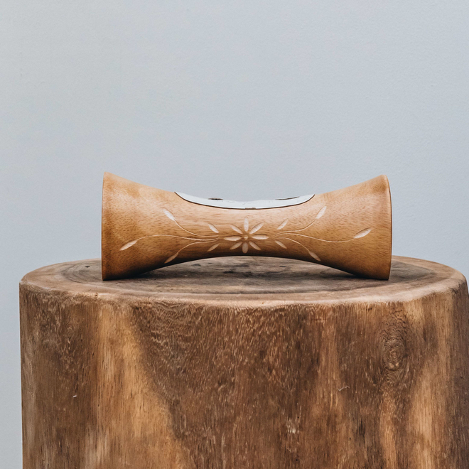 Portable Natural Speaker Mango Wood Natural Flower Small
