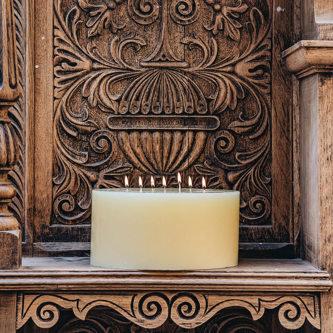 Lit Burford's Church Candle 7-wick