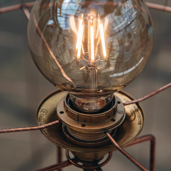 Mathieu Challières Birdcage Floor Lamp (detail of illuminated bulb)