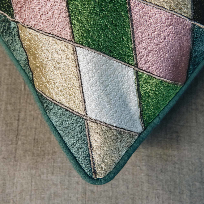 Harlequin Cushion, Ivy (detail of corner)