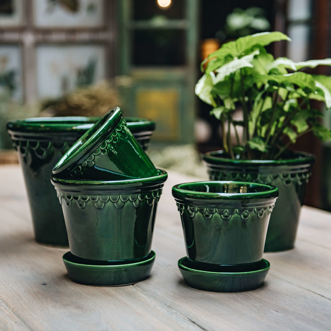 Emerald Glazed Copenhagen Pots with optional Saucers