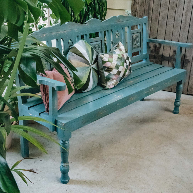 Indian Mango Wood Benches Fiddle Blue