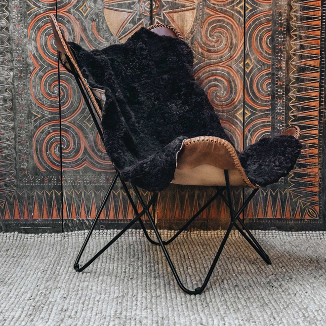 Gry Patchwork Shorthaired Sheepskin Rug Moro Brown