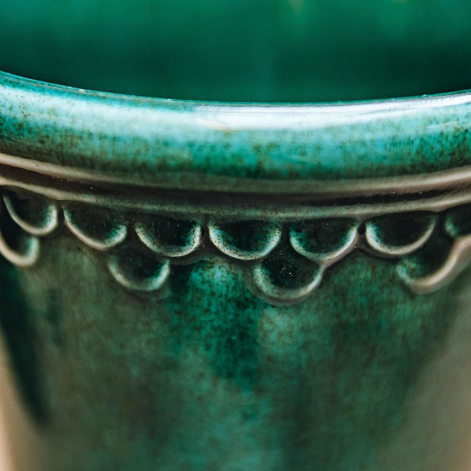 Azure Blue Glazed Copenhagen Pot detail