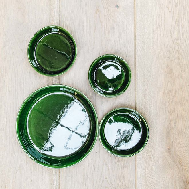 Emerald Glazed Copenhagen Saucers