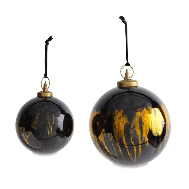 Giant Danoa Round Aged Amber & Black Glass Baubles