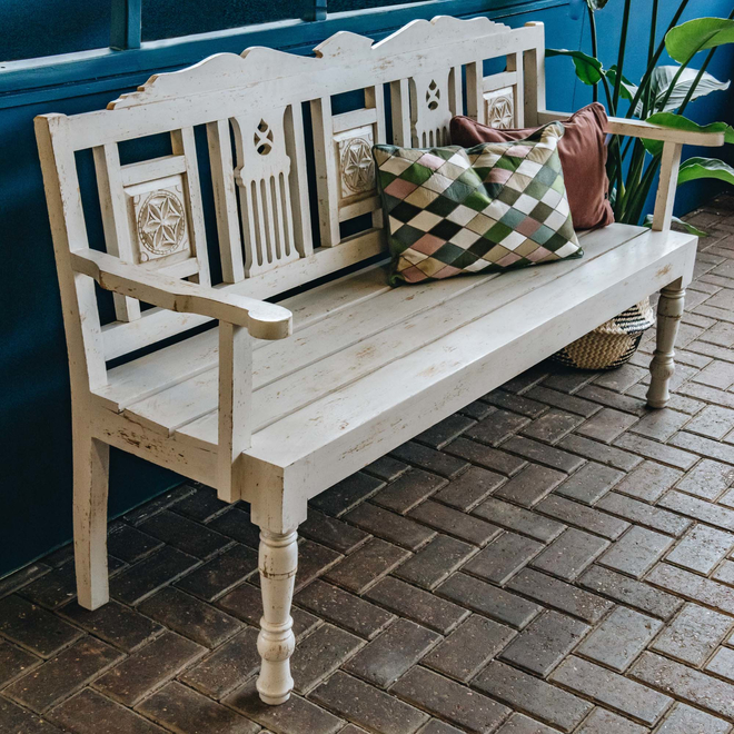 Indian Mango Wood Benches Fiddle Ivory