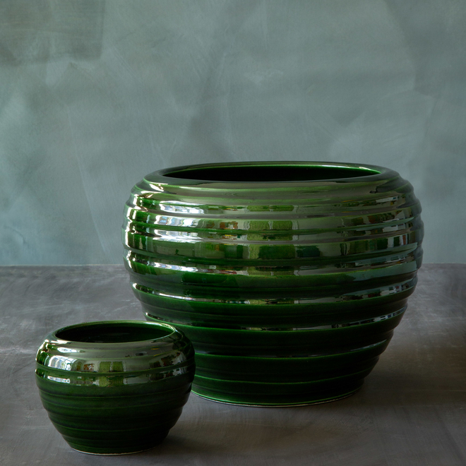 Emerald Glazed Honey Vases