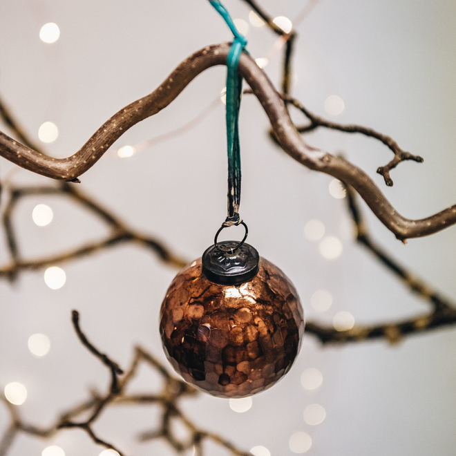 Large Copper Isala Hammered Glass Bauble