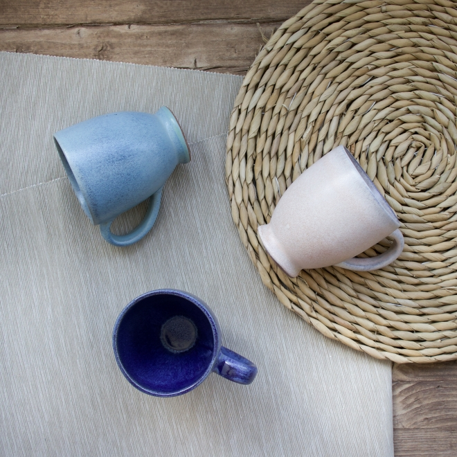 Stoneware Mugs, Light Blue, Dark Blue and White