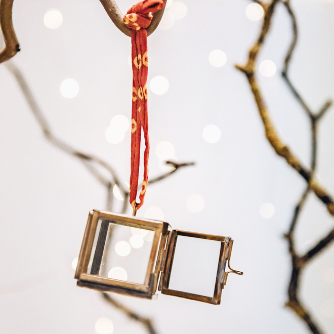 Square Tiny Kiko Brass Box Bauble