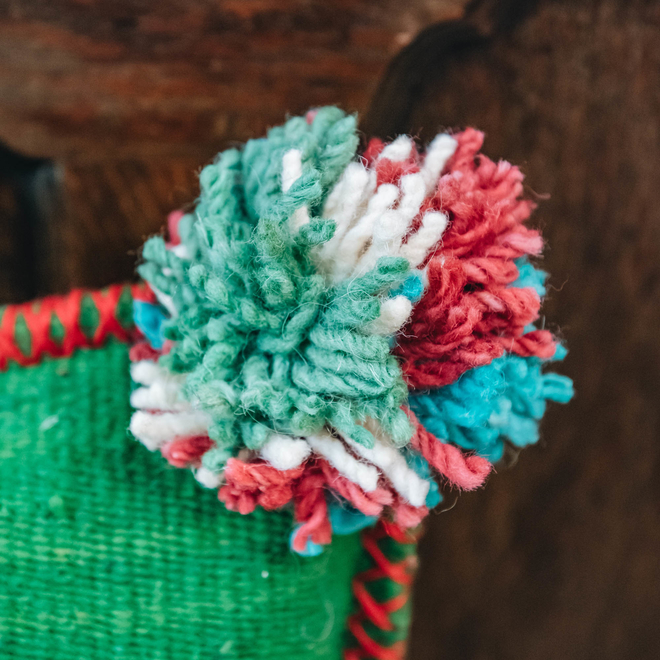 Albanian Knotted Flower Cushion Green Small pom-pom detail